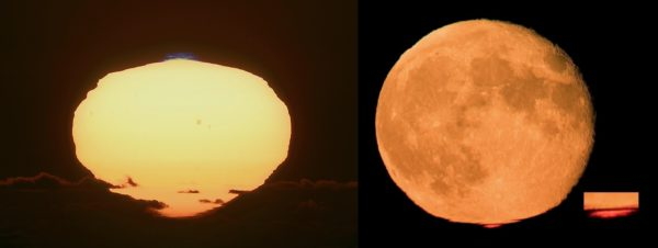 The rising or setting Sun (or Moon) can produce an image of greener or even bluer light atop it (L) and redder light beneath it (R), due to the minuscule refractive effects of Earth's atmosphere. Images credit: Mario Cogo (L) and Stefan Seip (R).