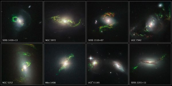 The bright emissions extending past the edge of the galaxies are evidence of prior AGN activity, but the central black holes are too dim now. Image credit: NASA / ESA / W. Keel, University of Alabama.