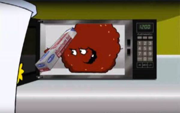 Shake: 'Here, read this book.' Meatwad: 'Do not use in microwave oven.' Image credit: Adult Swim/Aqua Teen Hunger Force.