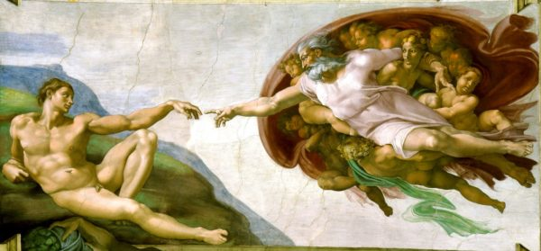 A famous depiction of the creation of man. Image credit: Michelangelo, Sistine Chapel ceiling, via Wikimedia Commons.
