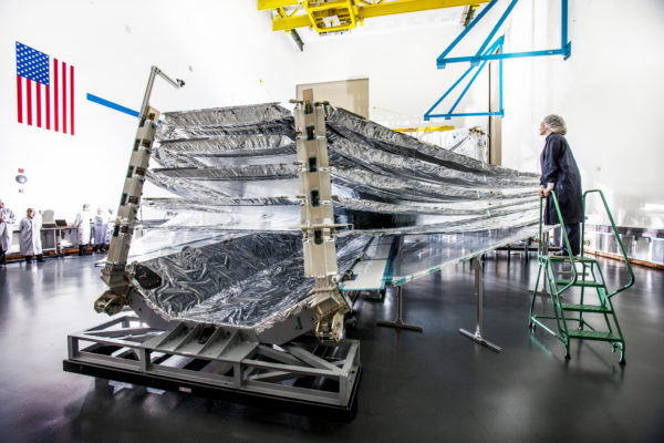 The first successful unfolding test of all five layers was conducted in 2014, and provided valuable lessons that help ensure the success of JWST during launch and deployment. Image credit: Northrop Grumman/Alex Evers.