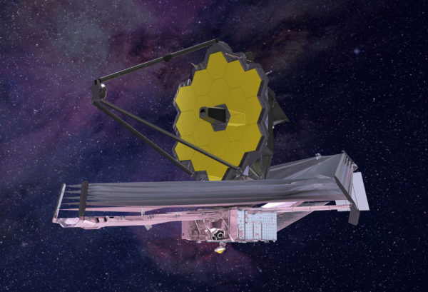 An artist's conception (2015) of what the James Webb Space Telescope will look like when complete and successfully deployed. Image credit: Northrop Grumman.