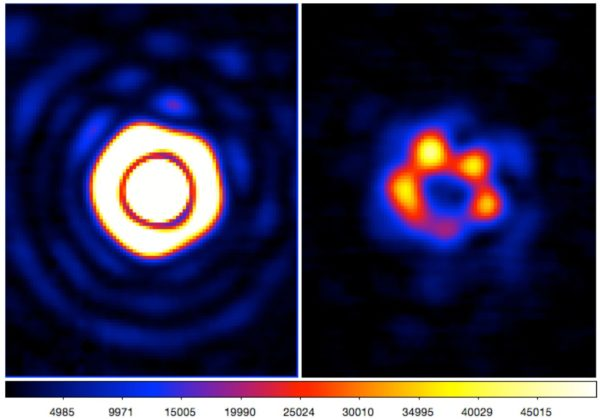Typical PSF in the L band with Strehl ratio of up to 88%, and many diffraction rings visible. Image credit: COFFEE Paul et al., 2014.