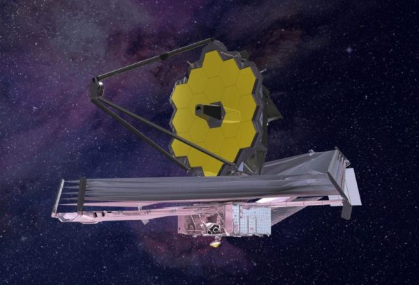 An artist's conception (2015) of what the James Webb Space Telescope will look like when complete and successfully deployed. Note the five-layer sunshield protecting the telescope from the heat of the Sun. Image credit: Northrop Grumman.