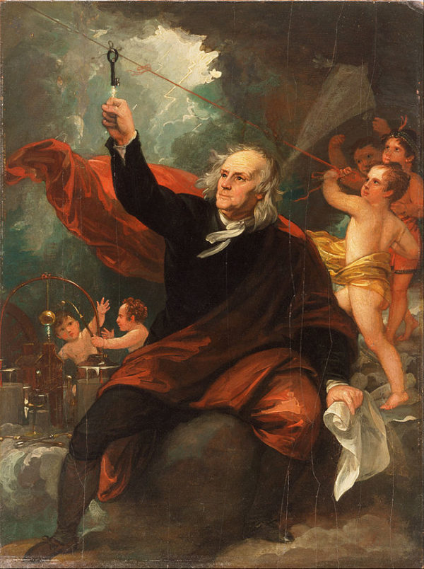 An artistic rendition of Benjamin Franklin drawing electricity from the sky at the Philadelphia Museum of Art. Image credit: Benjamin West, c. 1816.