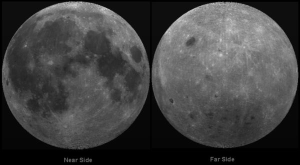 The near and far sides of the Moon, as reconstructed with imagery from NASA's Clementine mission. Image credit: NASA / Clementine Mission / Lunar & Planetary Institute / USRA.