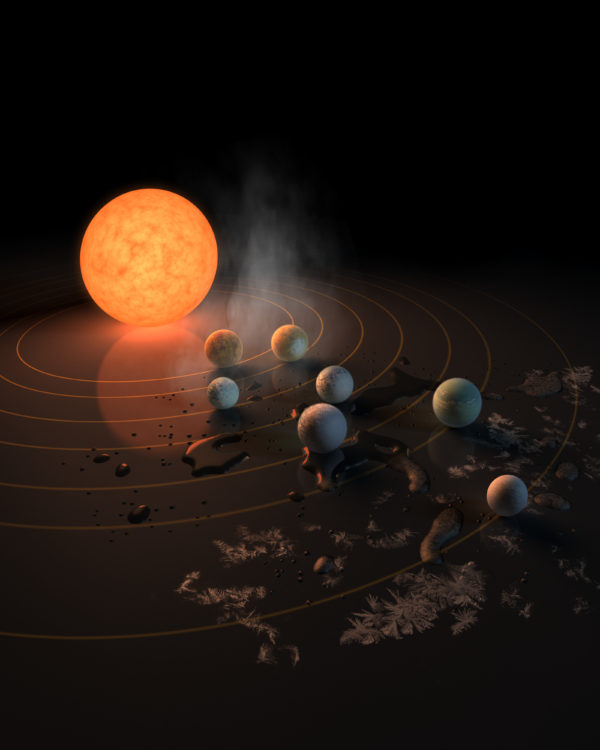 This artist's impression displays TRAPPIST-1 and its planets reflected in a surface. The potential for water on each of the worlds is also represented by the frost, water pools, and steam surrounding the scene. Image credit: NASA/R. Hurt/T. Pyle.