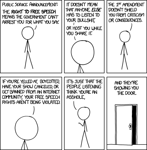 The XKCD version of Free Speech. Image credit: xkcd/Randall Munro, from https://xkcd.com/1357/.