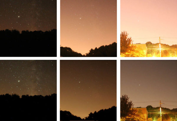 What a digital camera (top) and the human eye (bottom) sees from dark sky locations rating a 4, 6 and 9 on the Bortle scale, respectively. Image credit: Tony Flanders of Cloudy Nights, via http://www.cloudynights.com/topic/306632-illustrated-with-real-images-bortle-scale/.