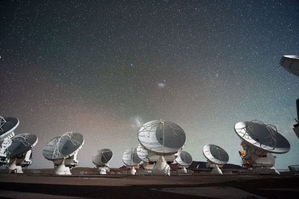 The Atacama Large Millimeter submillimeter Array (ALMA) are some of the most powerful radio telescopes on Earth. They are only one small part of the array forming the Event Horizon Telescope. Image credit: ESO/C. Malin.