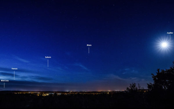 It only happens once every 11 years, but occasionally, all five naked-eye planets are visible at once. Mercury is always the toughest to spot. Image credit: Martin Dolan.
