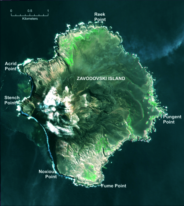 With all the active volcanic activity on the island, it's possible -- as the names suggest -- that Zavodovski island is also the smelliest place in the world. Image credit: UK Antarctic Place-names Committee / British Antarctic Survey / NERC.