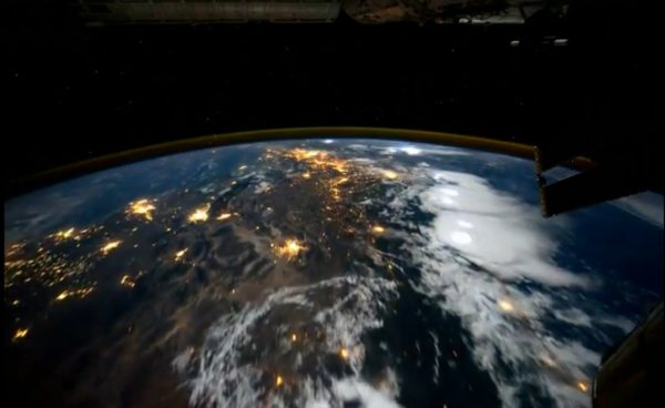 Humans can routinely view the Earth from outer space, orbiting our world once every 90 minutes. The imprint of the human impact on our world, particularly at night, is easily visible. Image credit: NASA / International Space Station.