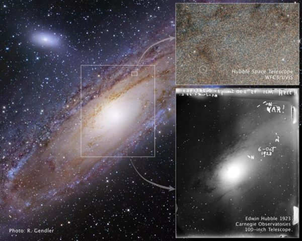 The star in the great Andromeda Nebula that changed our view of the Universe forever, as imaged first by Edwin Hubble in 1923 and then by the Hubble Space Telescope nearly 90 years later. Note, also, that the galaxy has not rotated at all in that time. Image credit: NASA, ESA and Z. Levay (STScI) (for the illustration); NASA, ESA and the Hubble Heritage Team (STScI/AURA) (for the image).