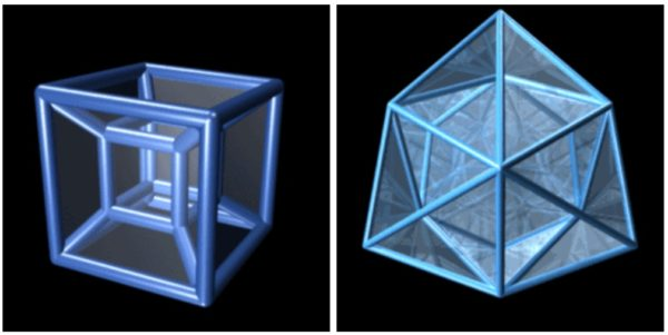 The four-dimensional analogue of a 3D cube is an 8-cell (left); the 24-cell (right) has no 3D analogue. Extra dimensions bring with them extra possibilities. Image credit: Jason Hise with Maya and Macromedia Fireworks.