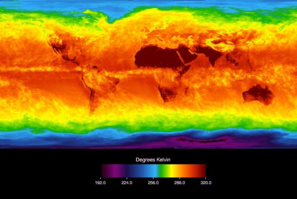 The Atmospheric Infrared Sounder (AIRS) instrument aboard NASA's Aqua satellite senses temperature using infrared wavelengths. This image shows temperature of the Earth's surface or clouds covering it for the month of April 2003. The scale ranges from -81 degrees Celsius (-114° Fahrenheit) in black/blue to 47° C (116° F) in red. Higher latitudes are increasingly obscured by clouds, though some features like the Great Lakes are apparent. Northernmost Europe and Eurasia are completely obscured by clouds, while Antarctica stands out cold and clear at the bottom of the image. Image credit: NASA AIRS.