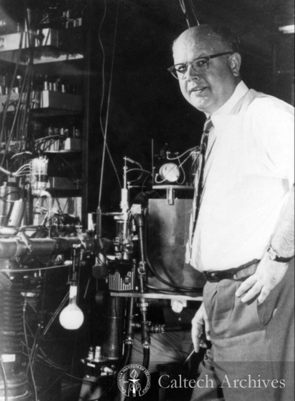 Willie Fowler in the W.K. Kellogg Radiation Laboratory at Caltech, which confirmed the existence of the Hoyle State and the triple-alpha process. Image credit: Caltech Archives.