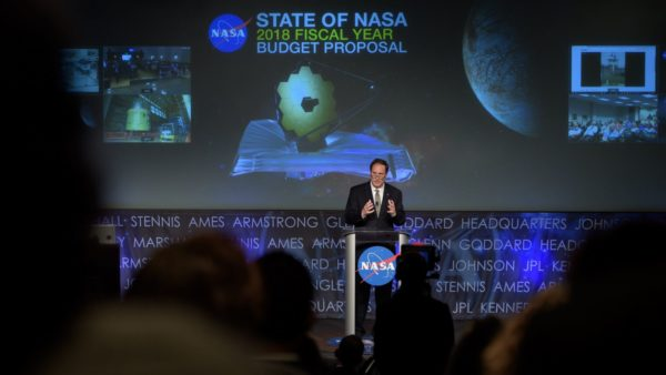 Acting NASA Administrator Robert Lightfoot discusses the proposed 2018 budget put forth by the White House during an address on the State of NASA. Image credit: Bill Ingalls/NASA.
