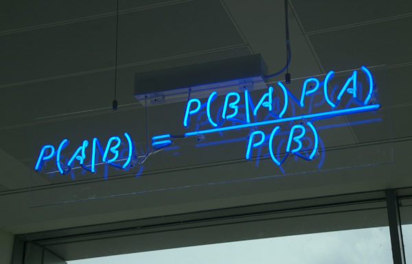 One of the most fundamental and useful rules in probability is Bayes' theorem, mathematically expressed in blue neon at the offices of Autonomy in Cambridge. Image credit: mattbuck of Wikimedia Commons.