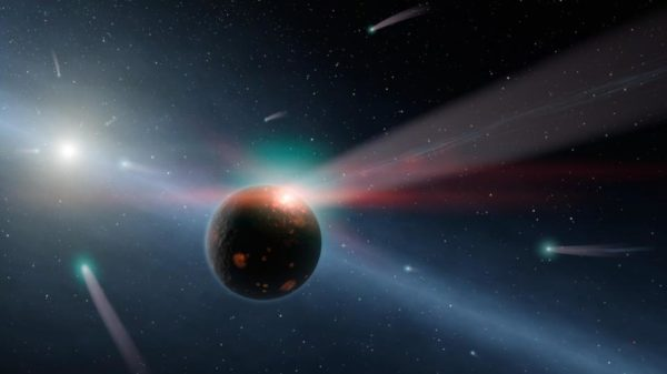 An illustration of a storm of comets around a star near our own, called Eta Corvi. The comet scenario is one explanation for the dimming around Tabby's star, one that a high-quality astronomical spectrum should be able to validate or rule out. Image credit: NASA / JPL-Caltech.