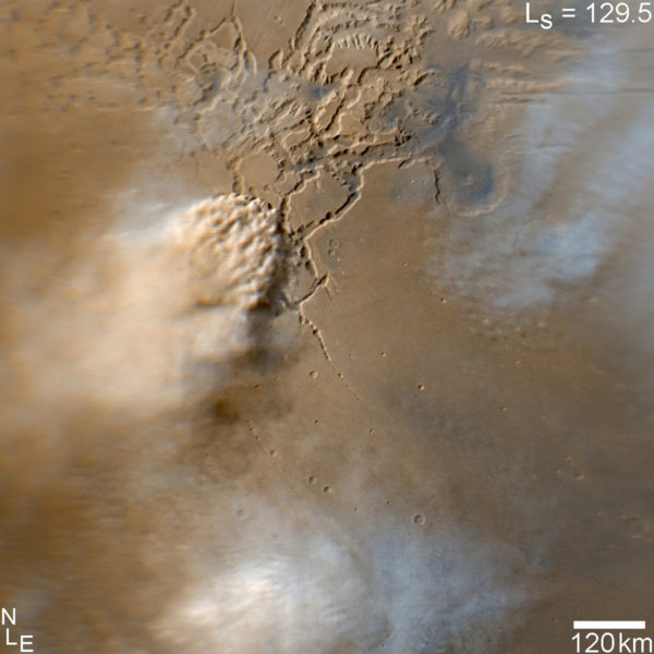 A dust storm on Mars, a common occurrence during the Martian summers. These storms were first discovered by the Mariner 9 mission in 1971. Image credit: NASA/JPL-Caltech/MSSS, from Mars Reconnaissance Orbiter.