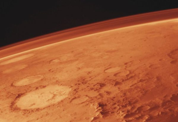 Mars, along with its thin atmosphere, as photographed from the Viking orbiter in the 1970s. Image credit: NASA / Viking orbiter.