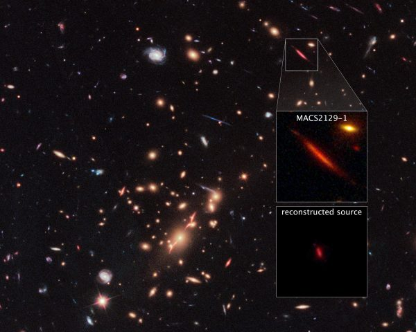 From the distant Universe, light has traveled for some 10.7 billion years from distant galaxy MACSJ2129-1, lensed, distorted and magnified by the foreground clusters imaged here. Image credit: NASA, ESA, and S. Toft (University of Copenhagen) Acknowledgment: NASA, ESA, M. Postman (STScI), and the CLASH team.