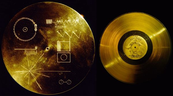 The gold-plated aluminum cover (L) of the Voyager golden record (R) both protects it from micrometeorite bombardment and also provides a key to playing it and deciphering Earth's location. Image credit: NASA.