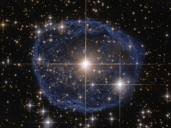 This Wolf–Rayet star is known as WR 31a, located about 30 000 light-years away in the constellation of Carina. The outer nebula is expelled hydrogen and helium, while the central star burns at over 100,000 K. Image credit: ESA/Hubble & NASA; Acknowledgement: Judy Schmidt.