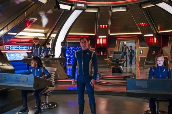 Captain Gabriel Lorca aboard the bridge of the Discovery, during a simulated combat mission with the Klingons. Image credit: Jan Thijs/CBS © 2017 CBS Interactive.