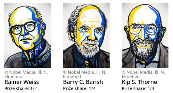 Rainer Weiss, Barry Barish and Kip Thorne are your 2017 Nobel Laureates in physics. Image credit: © Nobel Media AB 2017.