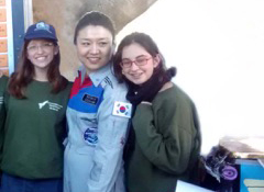 Korean astronaut Yi So-yeon with two members of the Ilan Ramon Space Olympics winning team